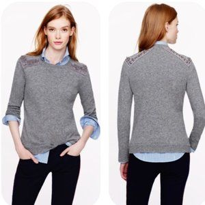 J.Crew Embellished Cashmere Blend Sweater Gray - M